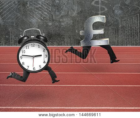 Alarm Clock Running After Pound Money Symbol