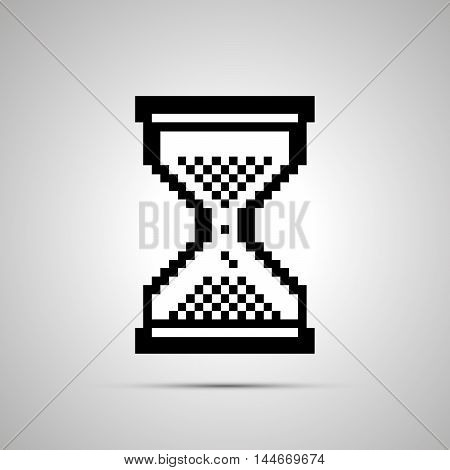 White pixelated computer cursor in hourglass shape simple icon with shadow