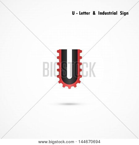 U-letter and gear icon design vector template.U-alphabet vector design.Business and industrial creative symbol.Vector illustration