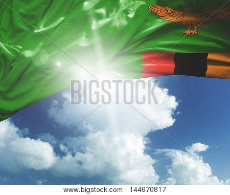 Zambia flag on a beautiful day