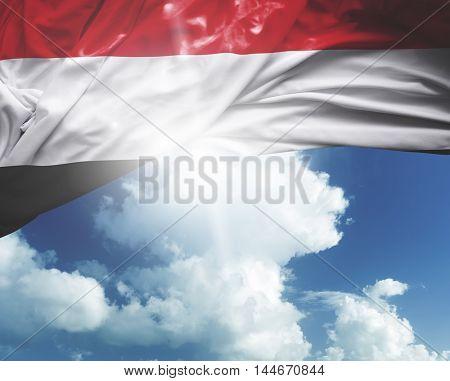 Yemen flag on a beautiful day