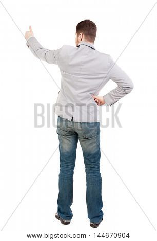 Back view of business man shows thumbs up. guy in a gray jacket, his hands on his belt shows a second hand thumb up.