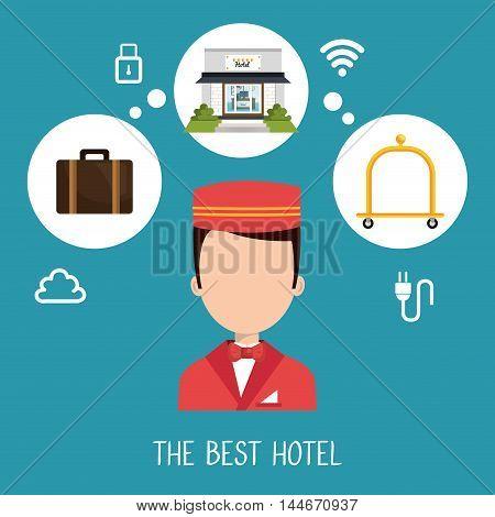 best hotel set services icons vector illustration design