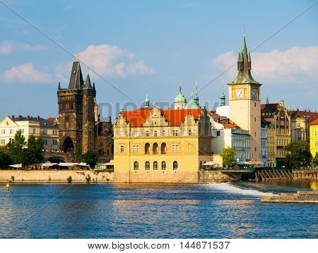 Smetana embankment with Old Town Bridge Tower, Smetana's Museum and Old Town Water Tower, Prague, Czech Republic