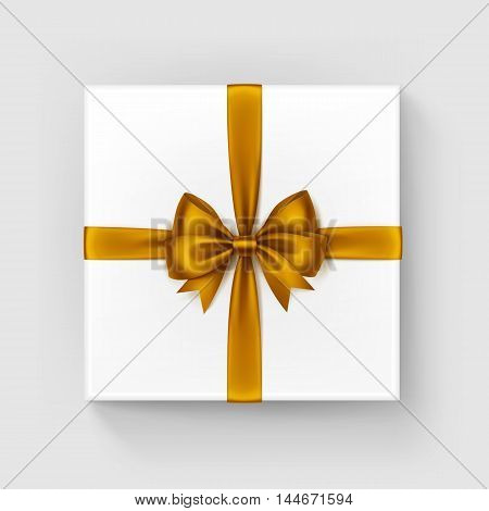 Vector White Square Gift Box with Shiny Orange Yellow Satin Bow and Ribbon Top View Close up Isolated on White Background