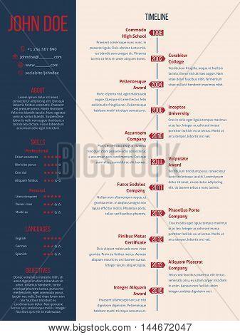 Modern cv resume curriculum vitae design with detailed timeline