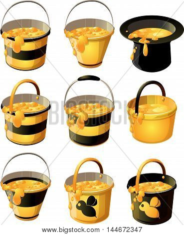 yellow with black stripe bucket of delicious honey