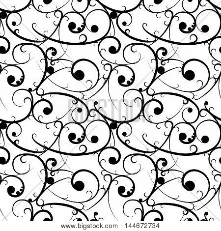 Black baroque seamless pattern in victorian style on white