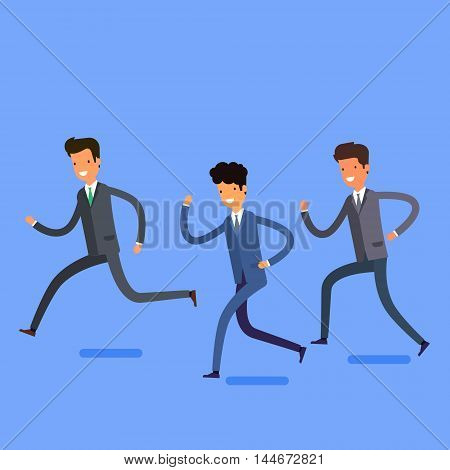 Business concept in winning and successful team. Cartoon business people running into the same direction with happy and cheerful expression. Flat design, vector illustration.