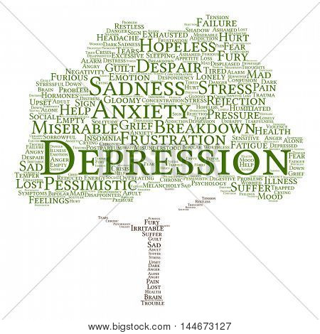 Concept conceptual depression or mental emotional disorder abstract tree word cloud isolated on background