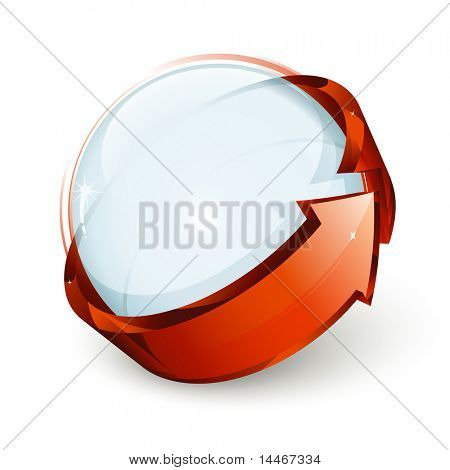 Abstract design, blue sphere and red arrow