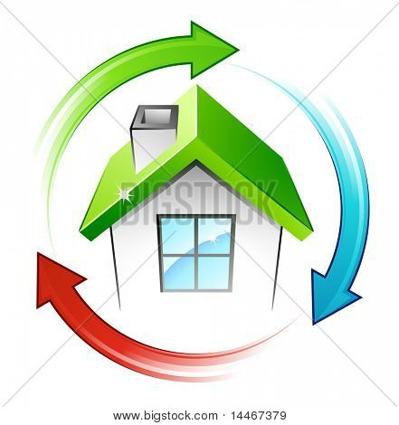 Green house and recycling arrows
