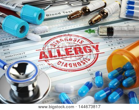 Allergy diagnosis. Stamp, stethoscope, syringe, blood test and pills on the clipboard with medical report. 3d illustration