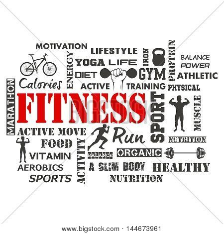 Fitness and Healthy Exercise Word. Vector illustration