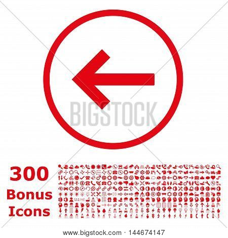 Left Arrow rounded icon with 300 bonus icons. Vector illustration style is flat iconic symbols, red color, white background.