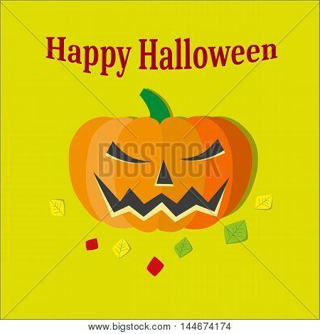 Halloween pumkin illustration vector orange icon on yellow background