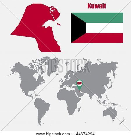 Kuwait map on a world map with flag and map pointer. Vector illustration