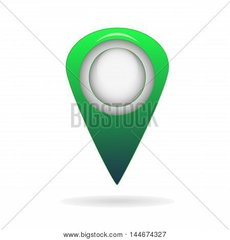 Green geo pin as logo with copy space on white. Geolocation and navigation. Icon for mobile and electronic devices, web design, infographic elements, presentation templates.