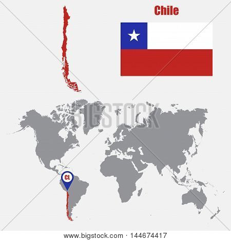 Chile map on a world map with flag and map pointer. Vector illustration