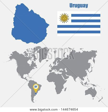 Uruguay map on a world map with flag and map pointer. Vector illustration