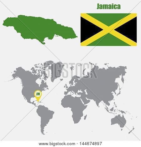 Jamaica map on a world map with flag and map pointer. Vector illustration