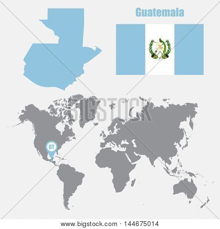 Guatemala map on a world map with flag and map pointer. Vector illustration