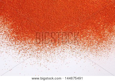 chili powder on the white background