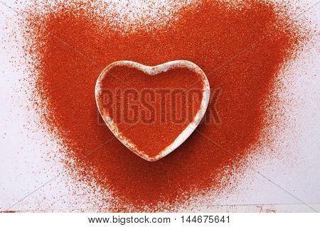 heart shape of the chili powder