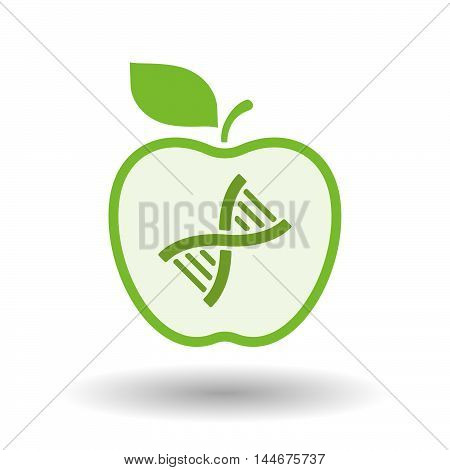 Isolated  Line Art Apple Icon With A Dna Sign