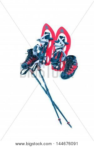 Detail of walking with technical snowshoes in mountains