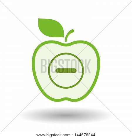 Isolated  Line Art Apple Icon With A Subtraction Sign