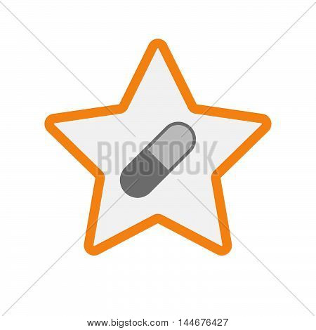 Isolated  Line Art Star Icon With A Pill