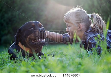 Happy girl and dog in the sunshine. The dog is big and scary - Rottweiler. Green grass park sunset