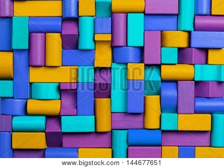 Toys Blocks Background Abstract Mosaic of Multicolored Kids Toy Bricks