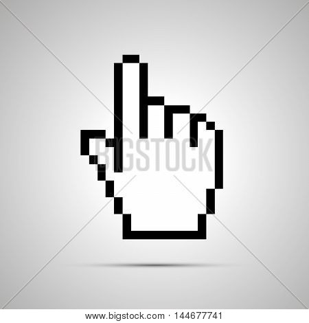 White pixelated computer cursor in hand shape simple icon with shadow