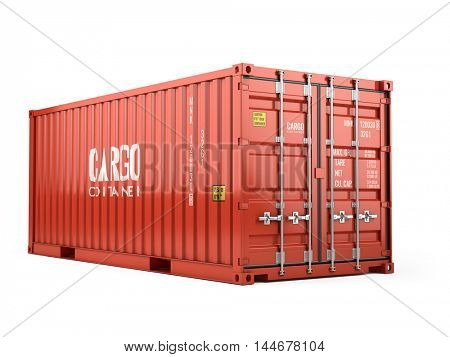 3d rendering of Red cargo shipping container against a white background