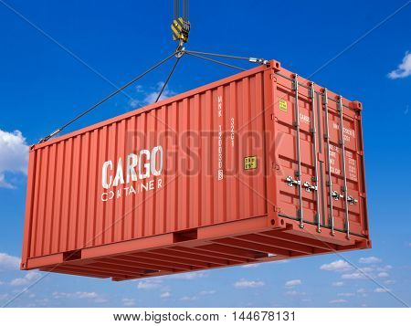 3d rendering of Red cargo shipping container