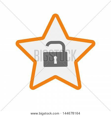 Isolated  Line Art Star Icon With An Open Lock Pad