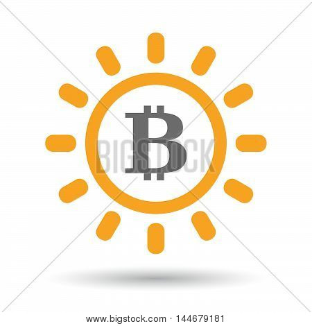Isolated  Line Art Sun Icon With A Bit Coin Sign