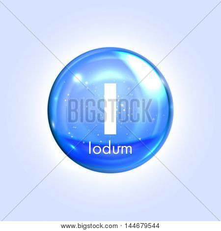 Iodine mineral blue icon. Vector 3D glossy drop pill capsule  Iodum mineral and vitamin complex. Healthy life medical and dietary supplement