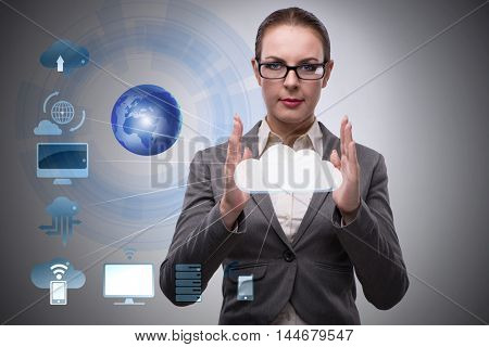 Woman in cloud computing concept