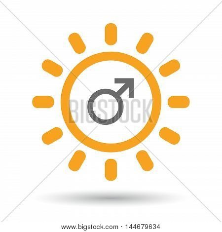 Isolated  Line Art Sun Icon With A Male Sign