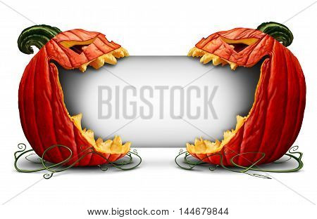 Halloween jack o lantern blank sign with two scary pumpkin characters on a side view biting into a white card as a symbol for fall and autumn festive communication with 3D illustration elements.