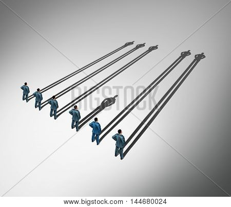 Erectile dysfunction medical concept as a group of men standing casting long shadows but one individual male casts a short shadow as a urology and psychological symbol for erection problems or sexual performance in a 3D illustration style.