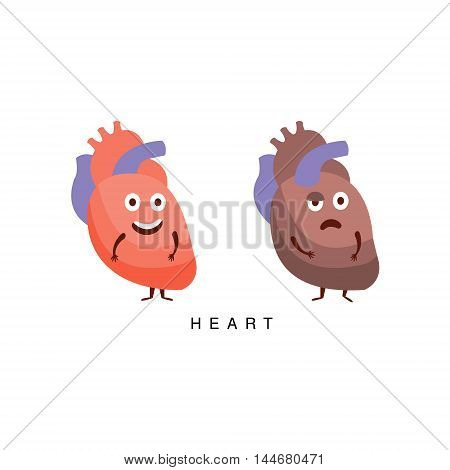 Healthy vs Unhealthy Heart Infographic Illustration.Humanized Human Organs Childish Cartoon Characters On White Background