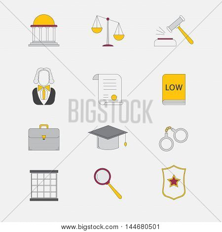 Law and justice vector icons. The legal system judge police and lawyer.