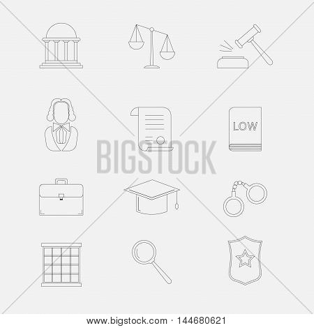 Law and justice thin line vector icons. The legal system judge police and lawyer.