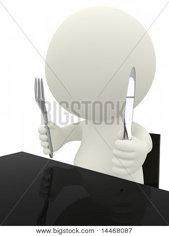 3D guy sitting at the table ready to eat - isolated over white