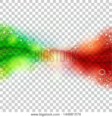 Abstract green and red color waves connection. Horisontal banner at transparent background. Vector concept for communication design.