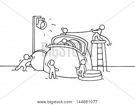 Sketch of working little people with purse. Doodle cute miniature scene of workers with many coins. Hand drawn cartoon vector illustration for business and finance design.